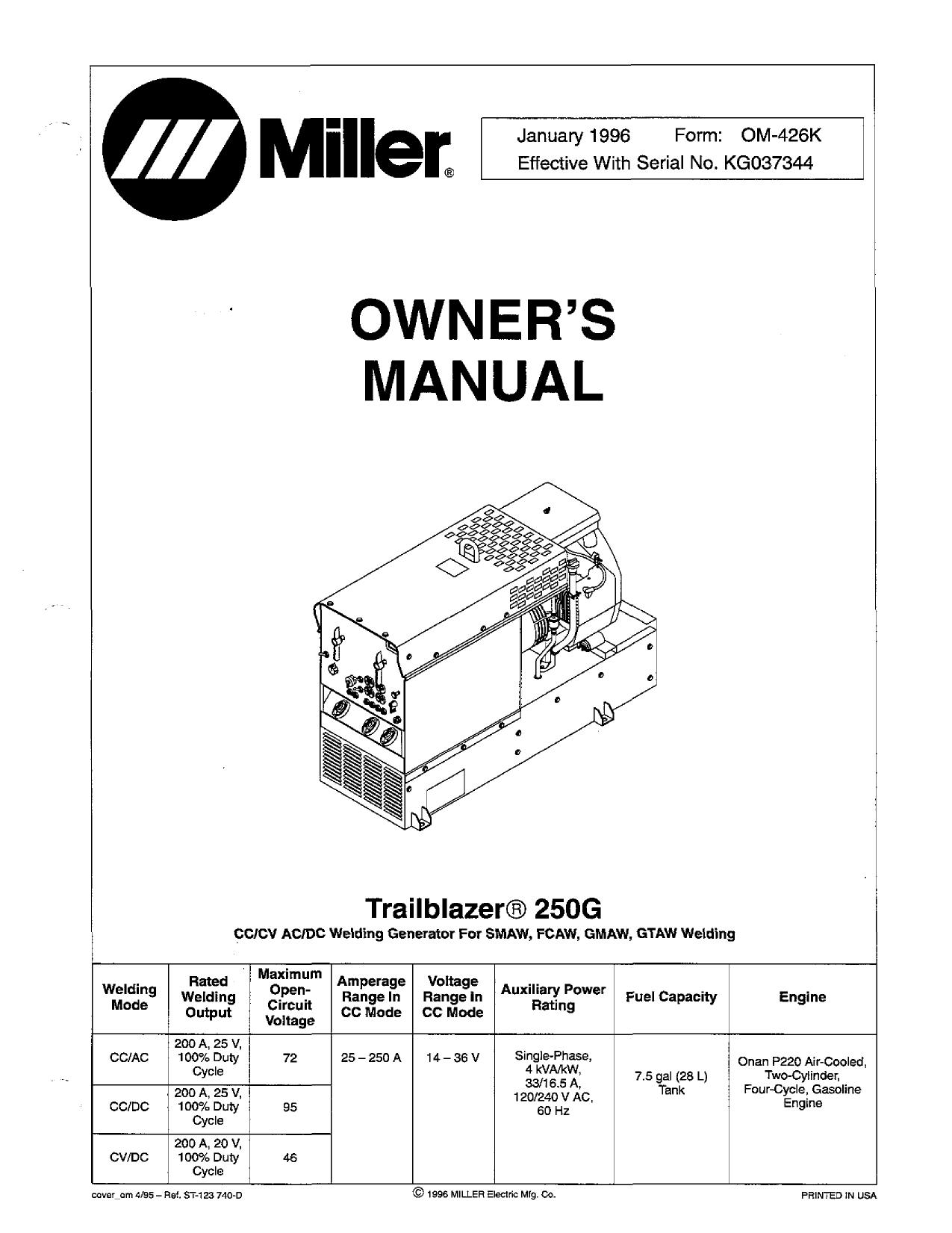 Miller TRAILBLAZER 250G User manual   Manualzzmanualzz