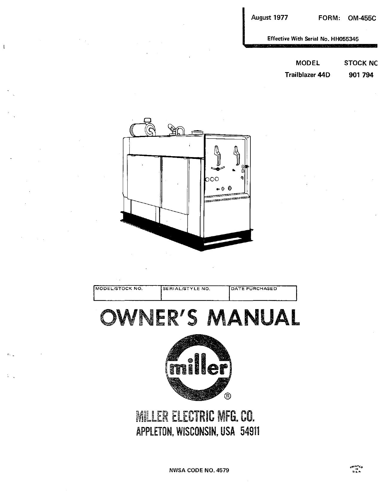 Miller Hh055345 Owner S Manual Manualzz