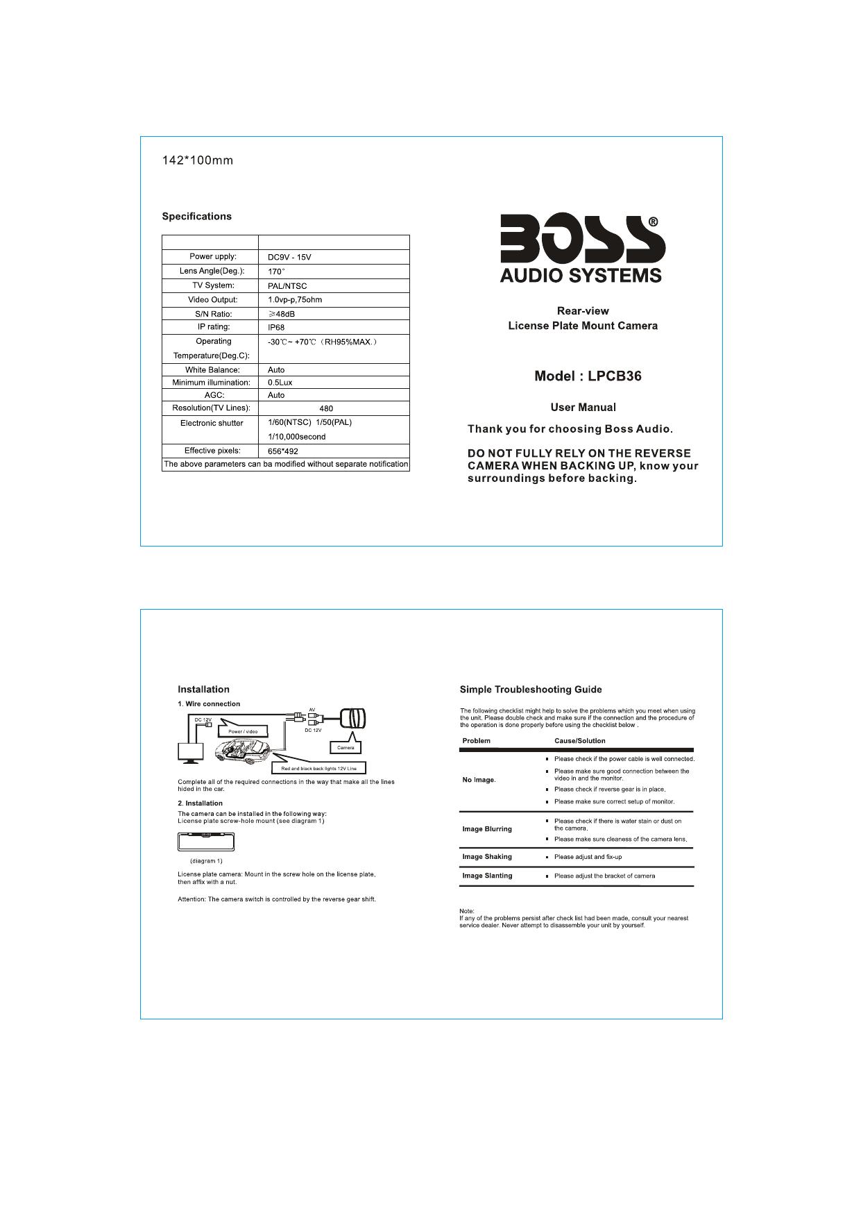 Boss Audio Systems LPCB36 User manual | ManualzzManualzz