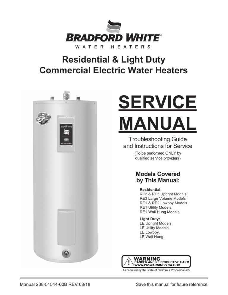 Bradford White RE3120T6, RE380T6 User manual | ManualzzManualzz