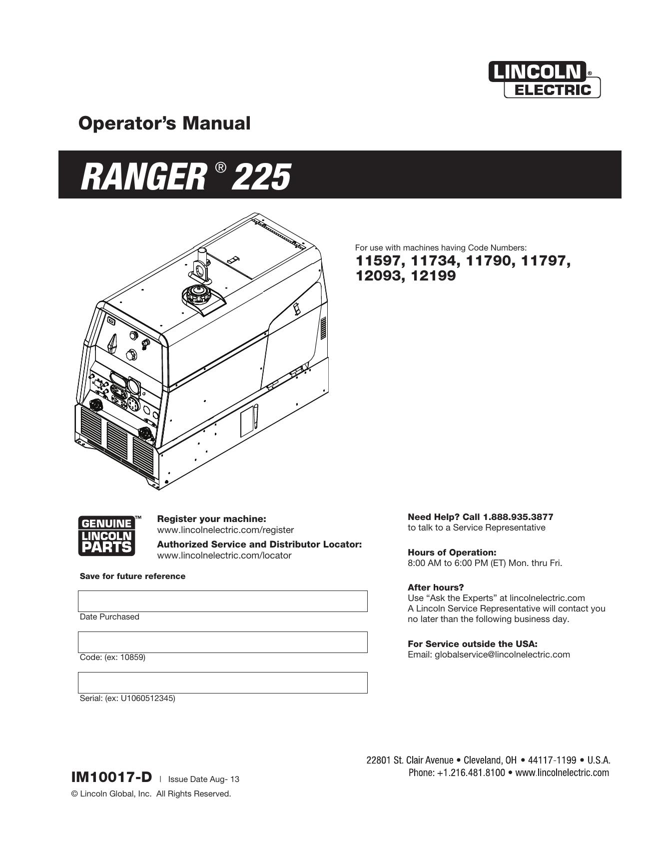 Lincoln Electric Ranger 225 - 12199 Operator Manual   Manualzzmanualzz