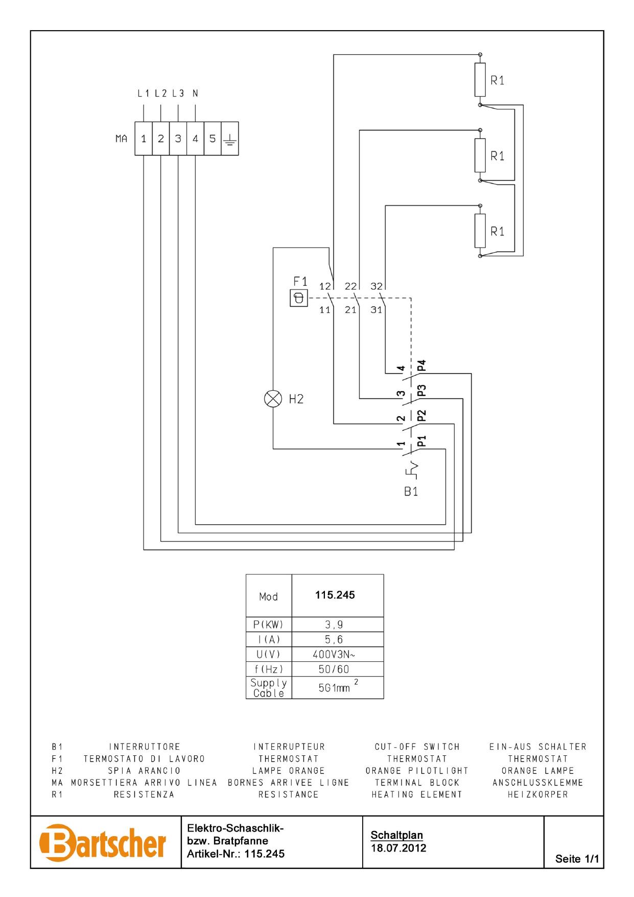 Bartscher 115245 Electric Frying Pan 650  12 5l W400