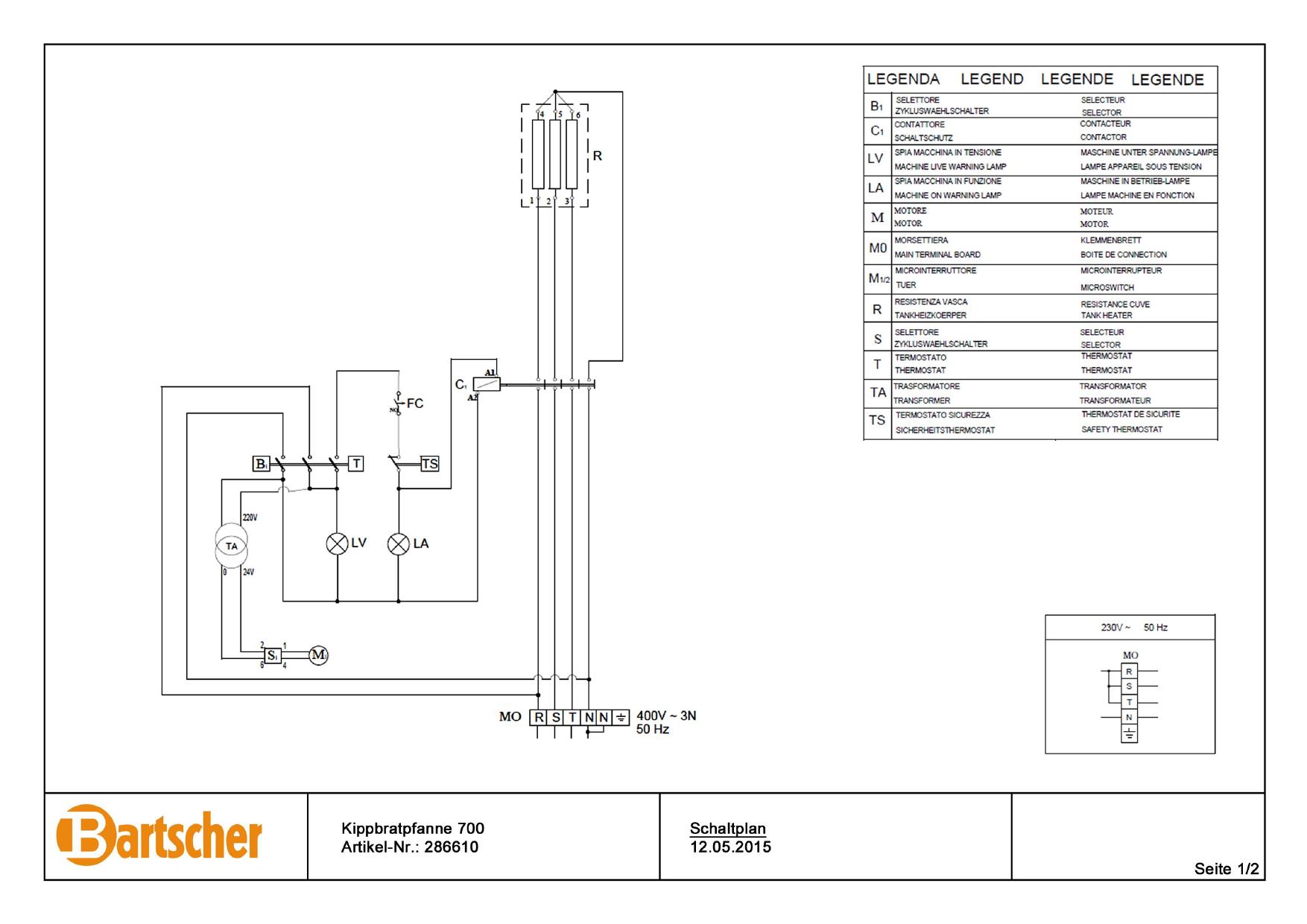 Bartscher 286610 Tilting Frying Pan 700 E50lek Wiring