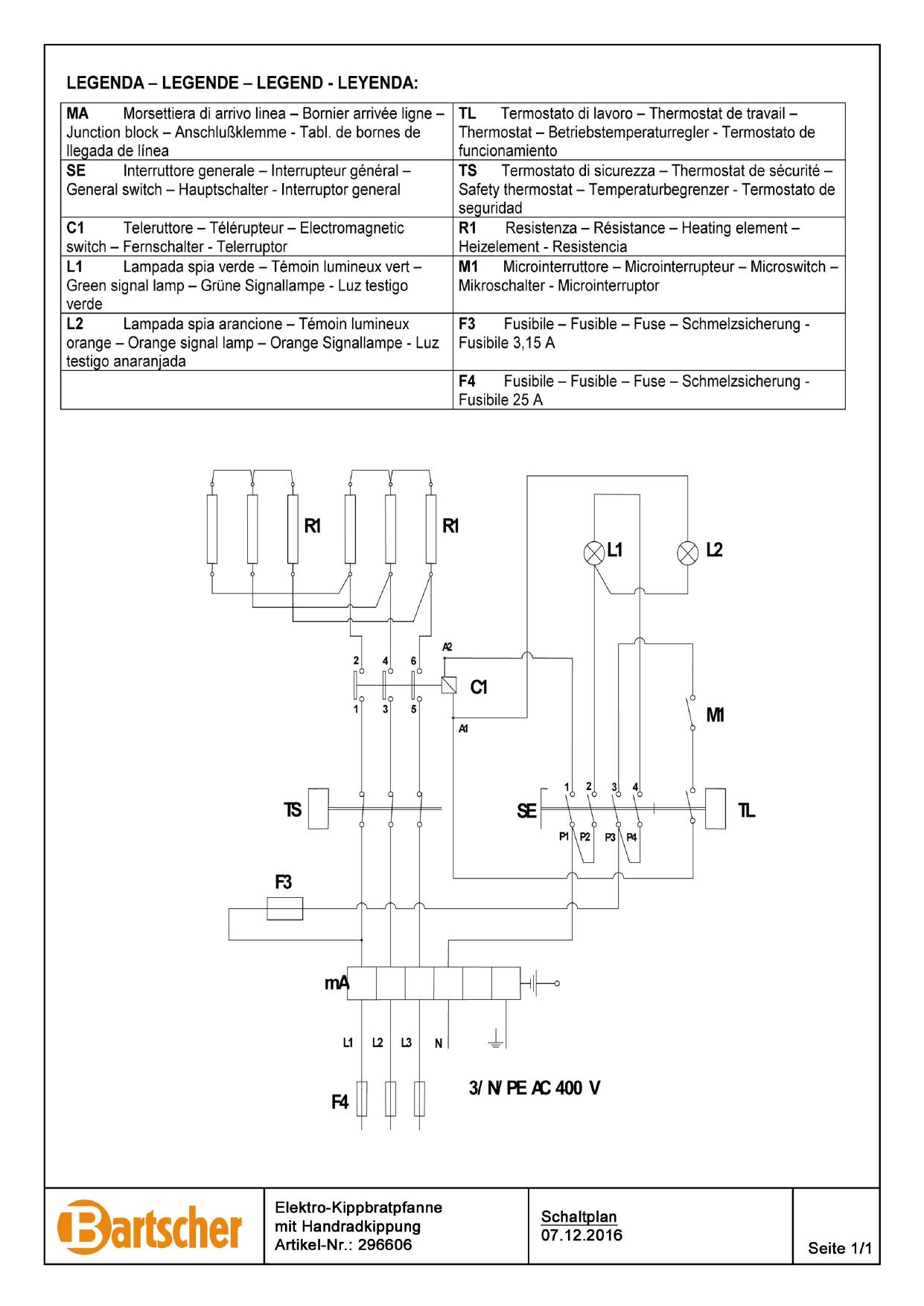 Bartscher 296606 Tilting Frying Pan 900 E87lhk Wiring