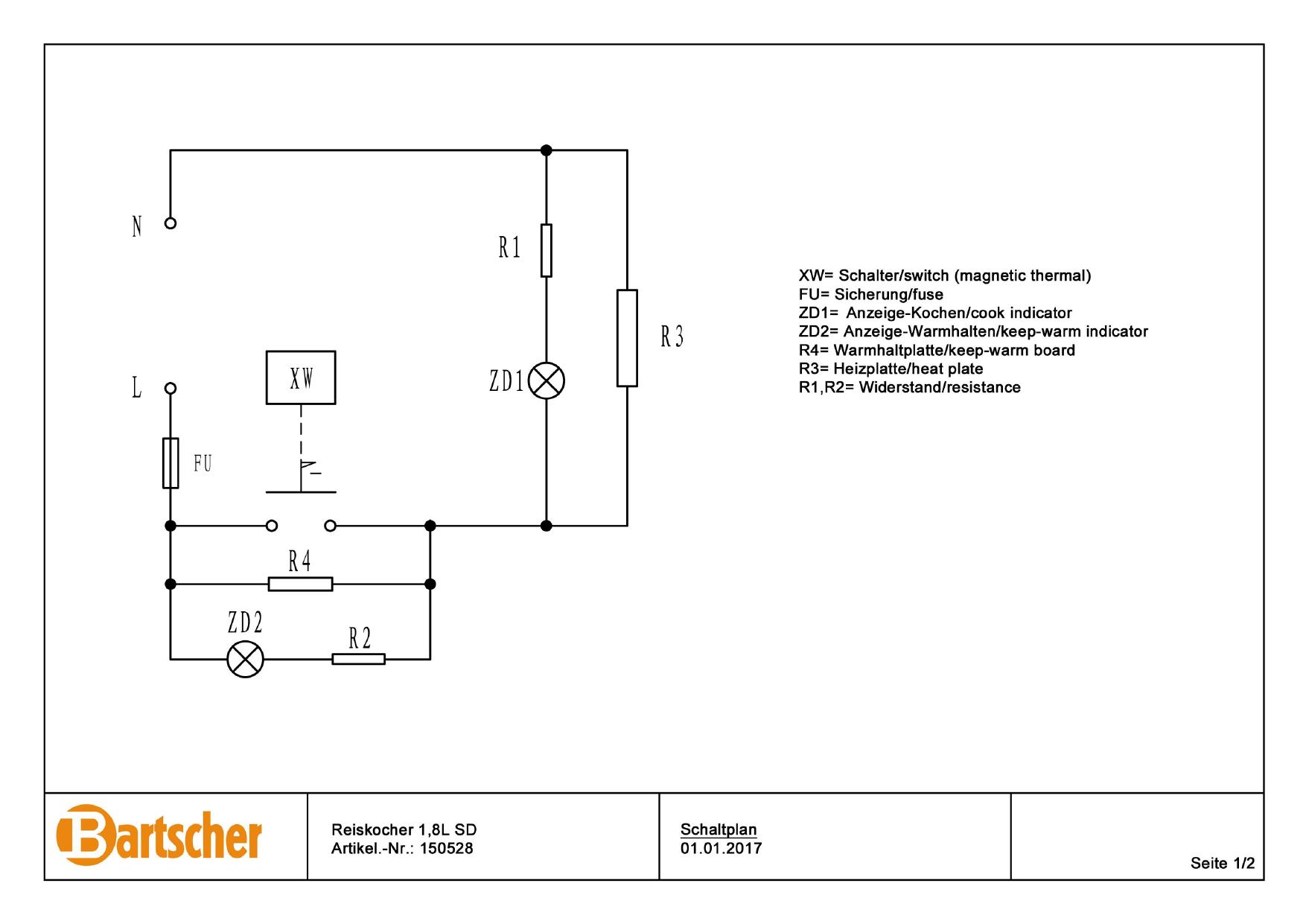 Bartscher 150528 Rice Cooker 1 8l Sd Wiring Diagram