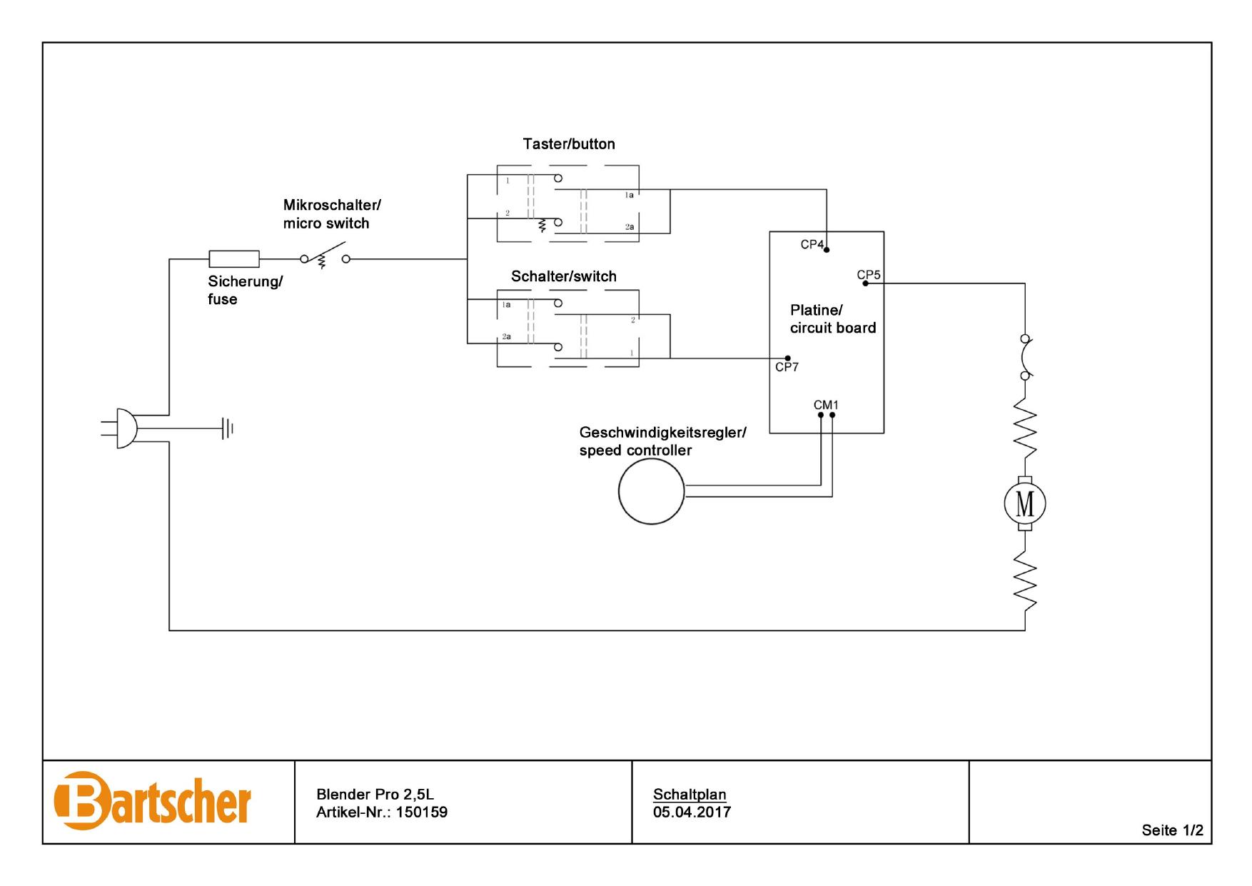 Bartscher 150159 Blender Pro 2 5l Wiring Diagram