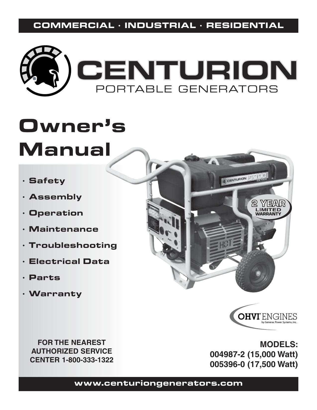 Generac Centurion 15000 0049872 Manual | Manualzz | Generac 15000 Portable Generator Wiring Diagram |  | Manualzz