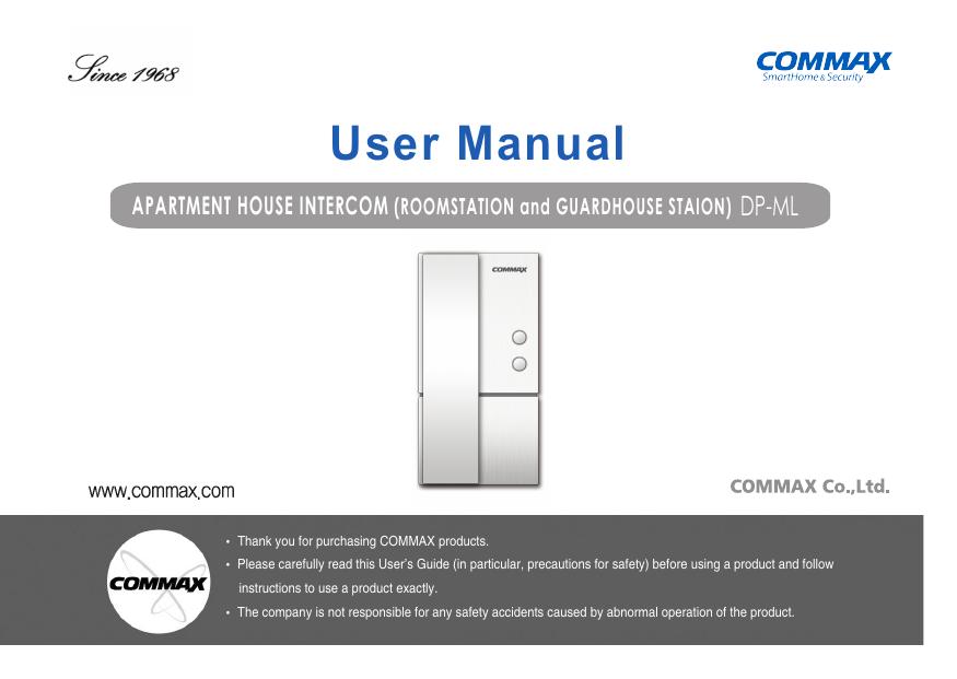 Commax Dp Ml Door Phone Owner Manual, Commax Intercom Wiring Diagram