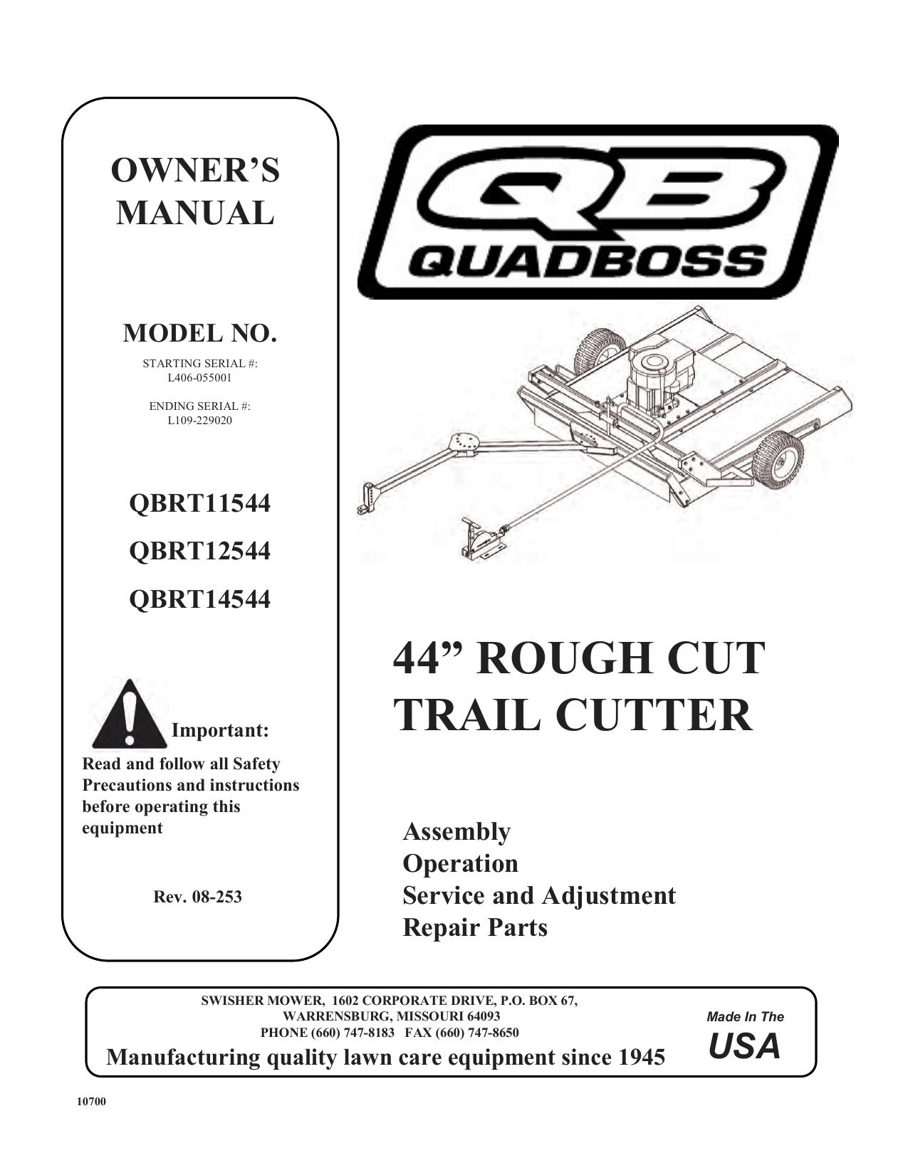 Swisher QBRT11544, QBRT14544, QBRT12544 Owner's manual   Manualzzmanualzz