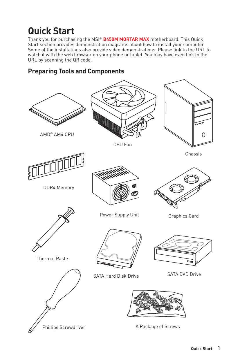 Msi B450m Mortar Max User Manual Manualzz
