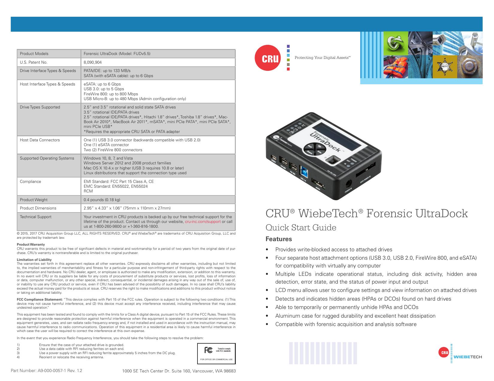 Wiebetech Forensic Ultradock Fudv5 5 Quick Start Guide Manualzz