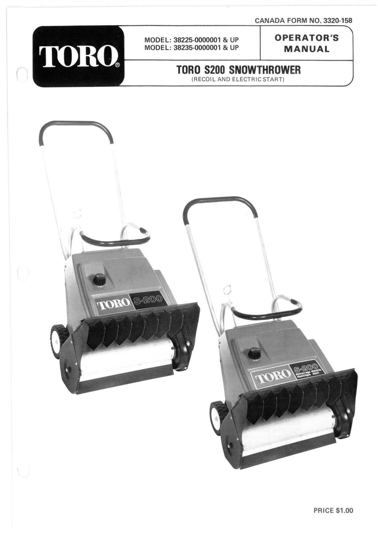 Toro S 200 Snowthrower User Manual Manualzz