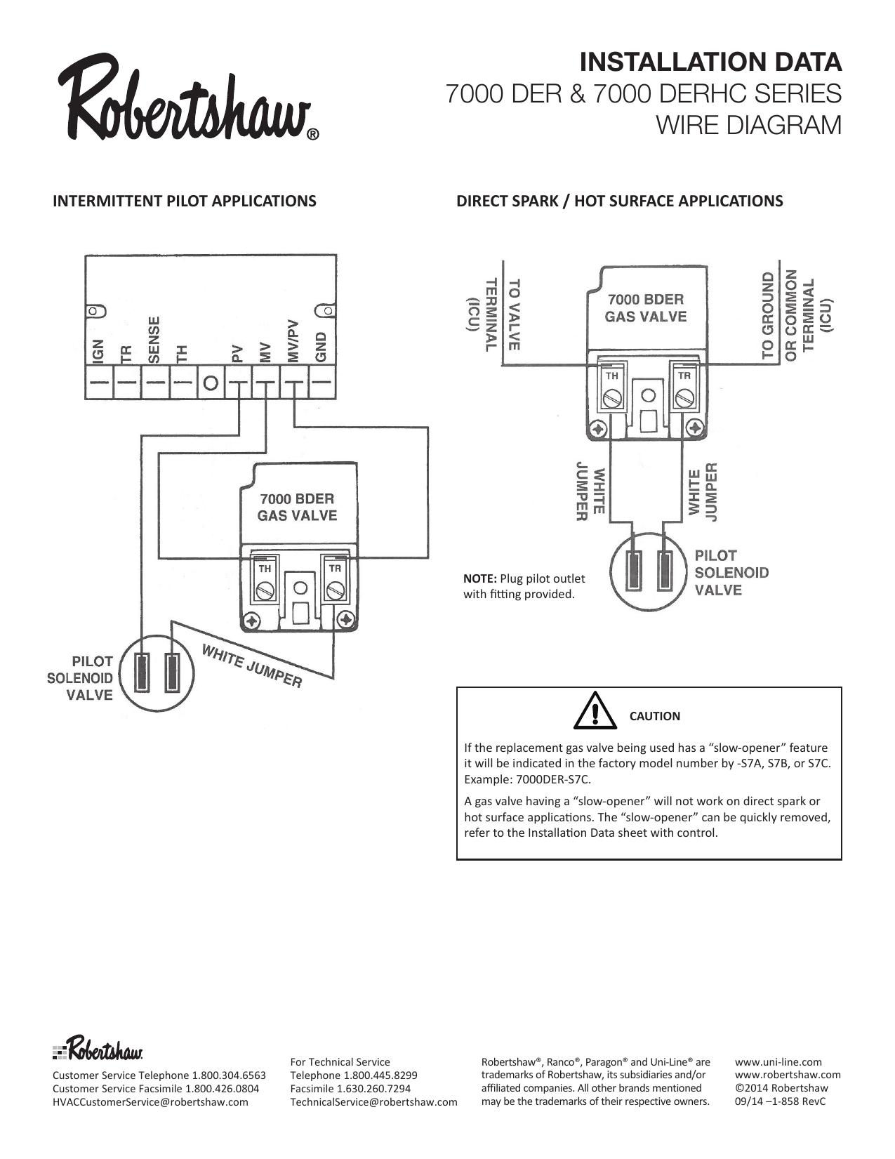 Robertshaw 7000 DER & 7000 DERHC Series Wire Diagram User manual | ManualzzManualzz