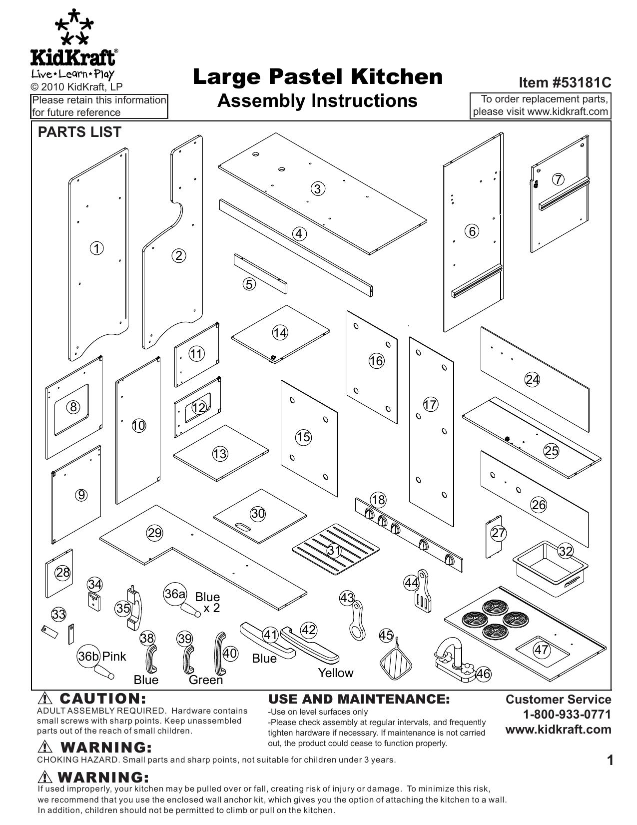 Kidkraft Large Pastel Play Kitchen User Manual Manualzz