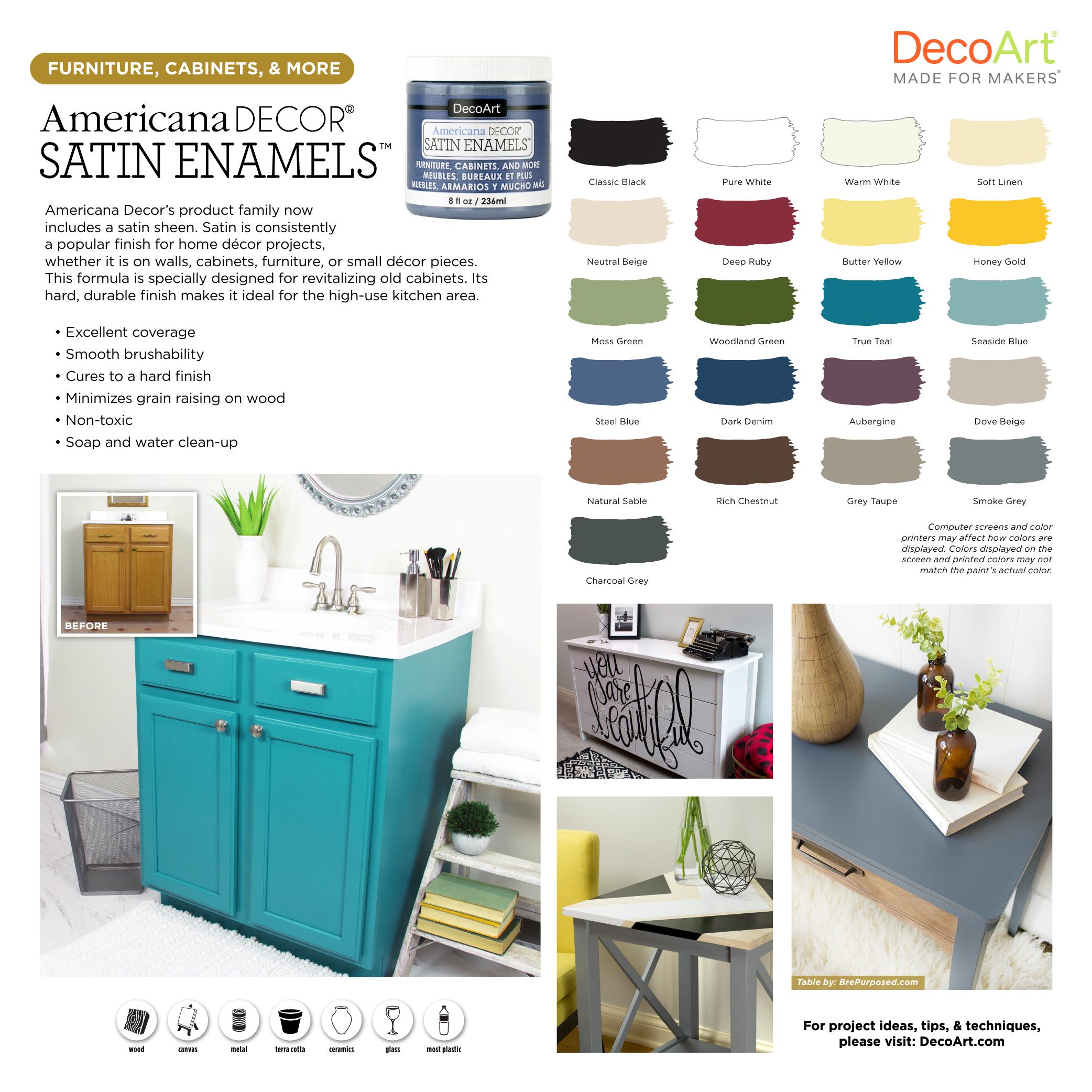 Americana Decor ADSA9 9 9 oz. Soft Linen Satin Enamel Paint Use ...