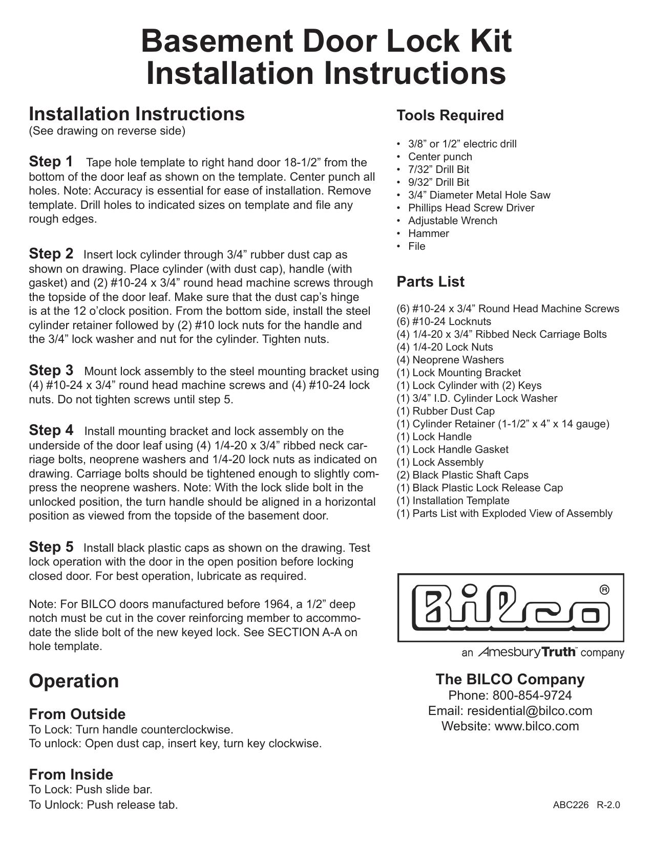 Bilco Bd Lock Installation Guide Manualzz
