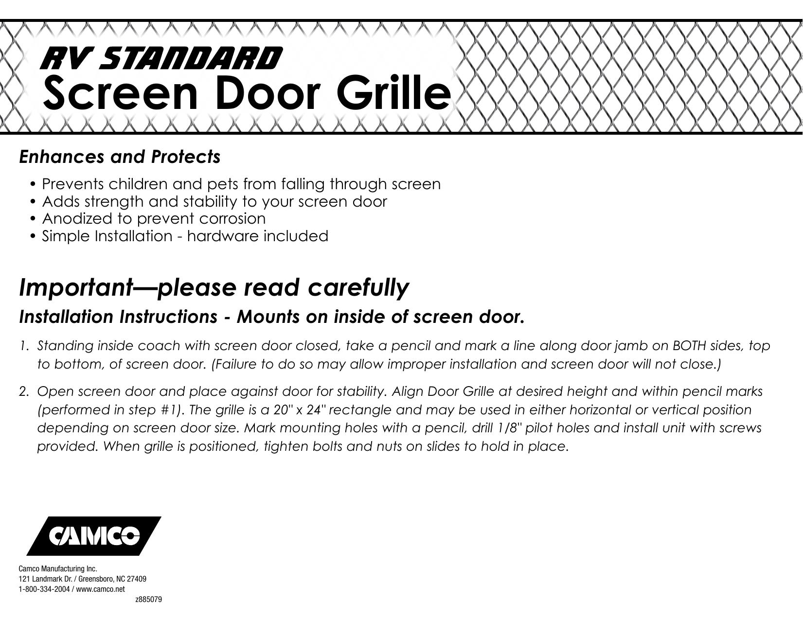 Camco 43981 Screen Door Hardware User Manual Manualzz