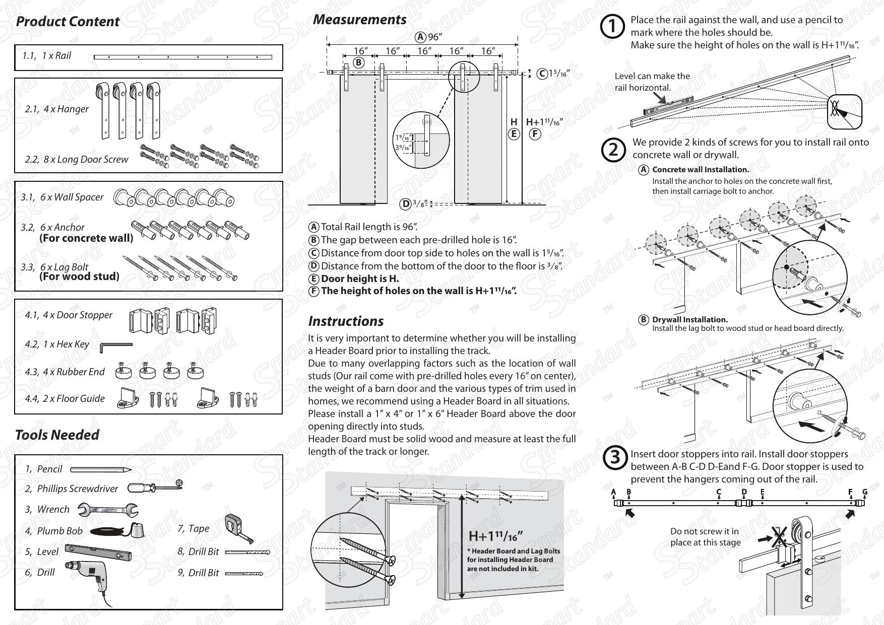 Smartstandard 8ft Heavy Duty Sliding Barn Sliding Door Hardware User Manual Manualzz