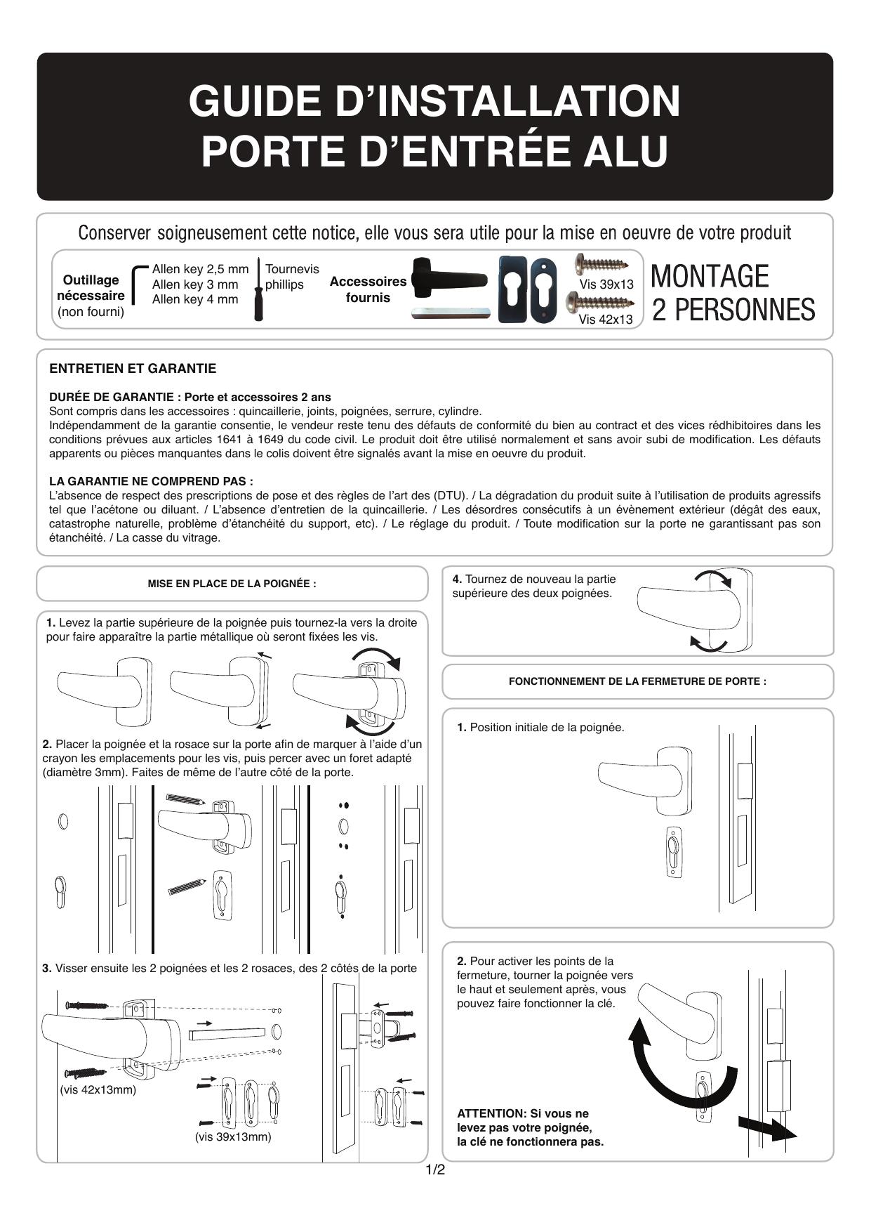 Castorama Porte D Entree Alu Jorasses 215 X 90 Cm Poussant Gauche Mode D Emploi Manualzz