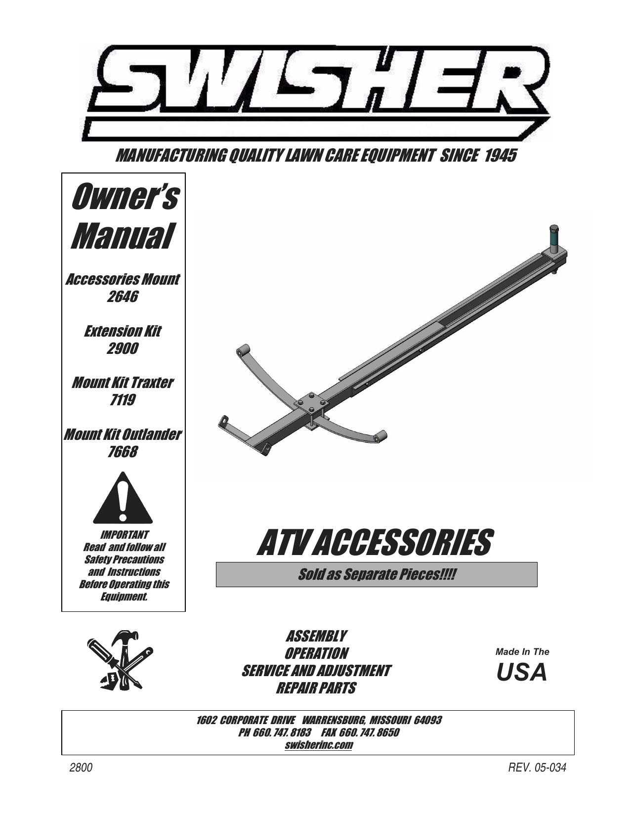 Plows Swisher 2646 Universal ATV Mounting Kit Motorcycle & ATV