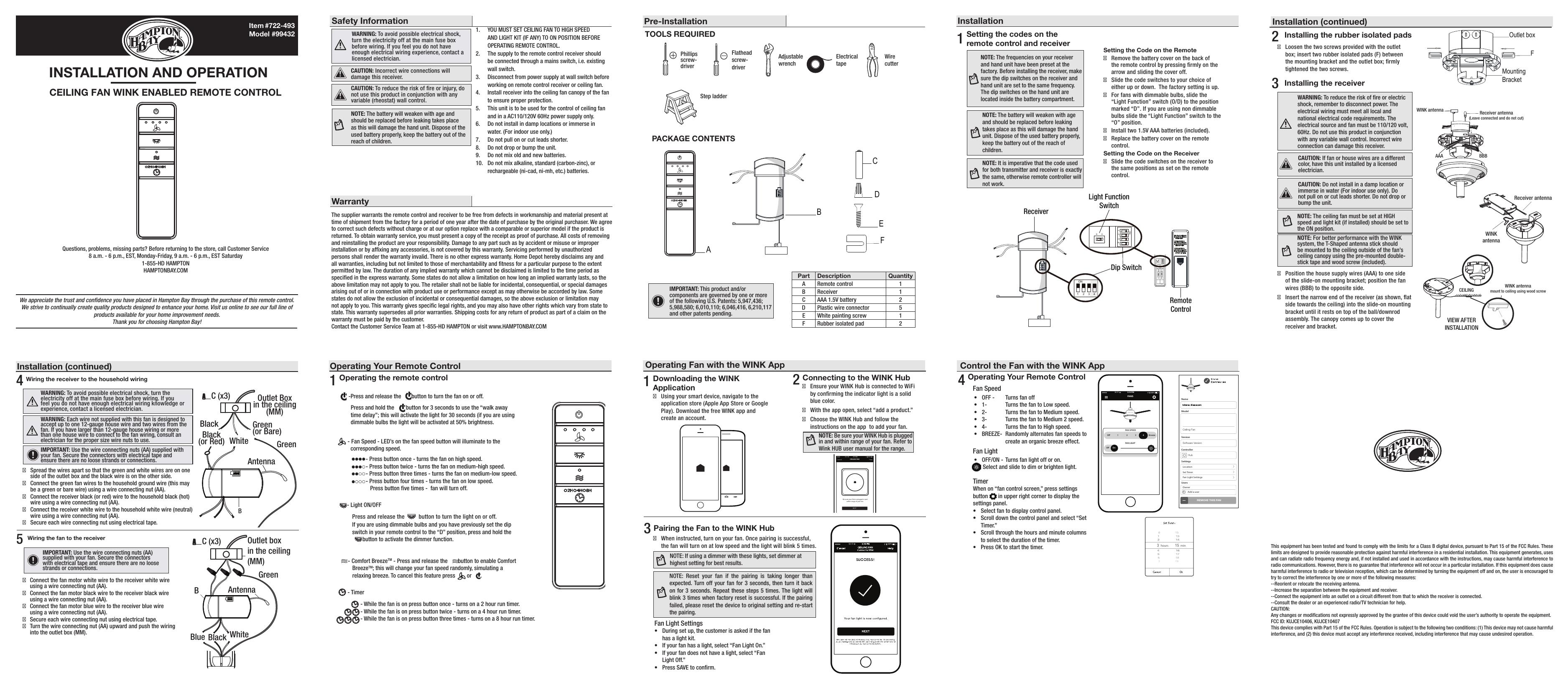 Hampton Bay 19912 Installation Guide Manualzz
