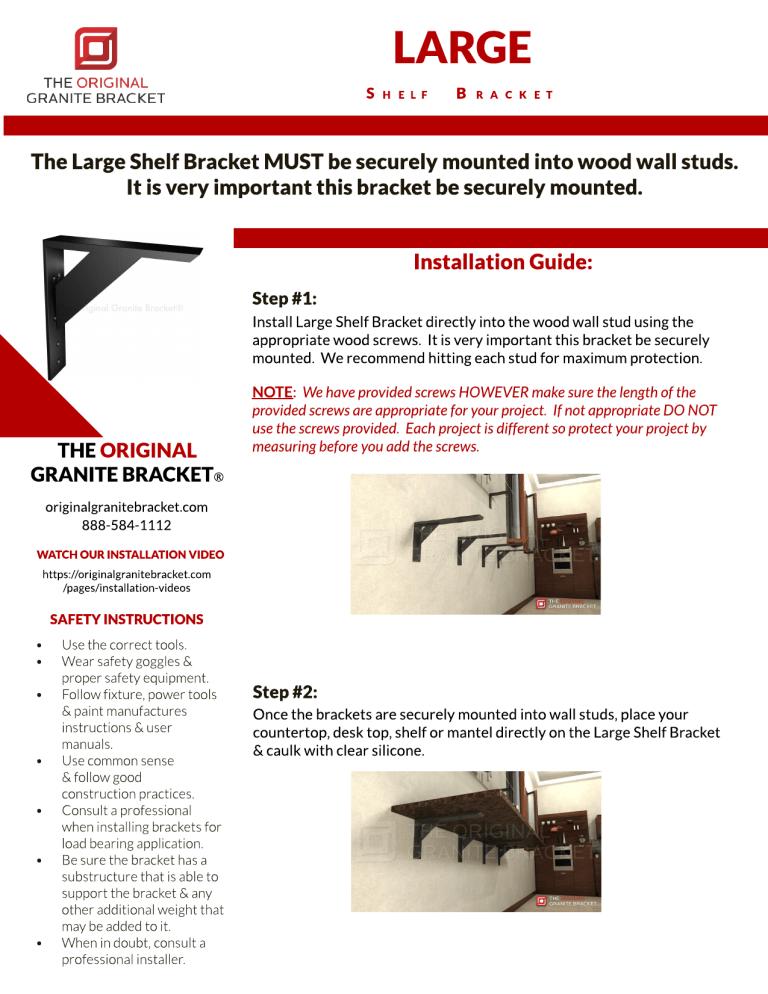 10x10 The Original Granite Bracket Large Shelf Aluminum Bracket