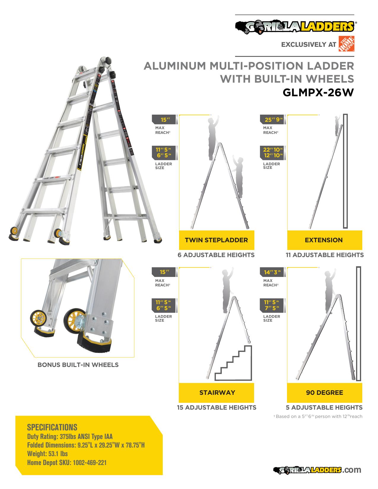 "Gorilla Ladders Glmpx 26w 26 Ft Reach Mpx Aluminum Multi Position Ladder With Wheels ȧ""范 Manualzz"