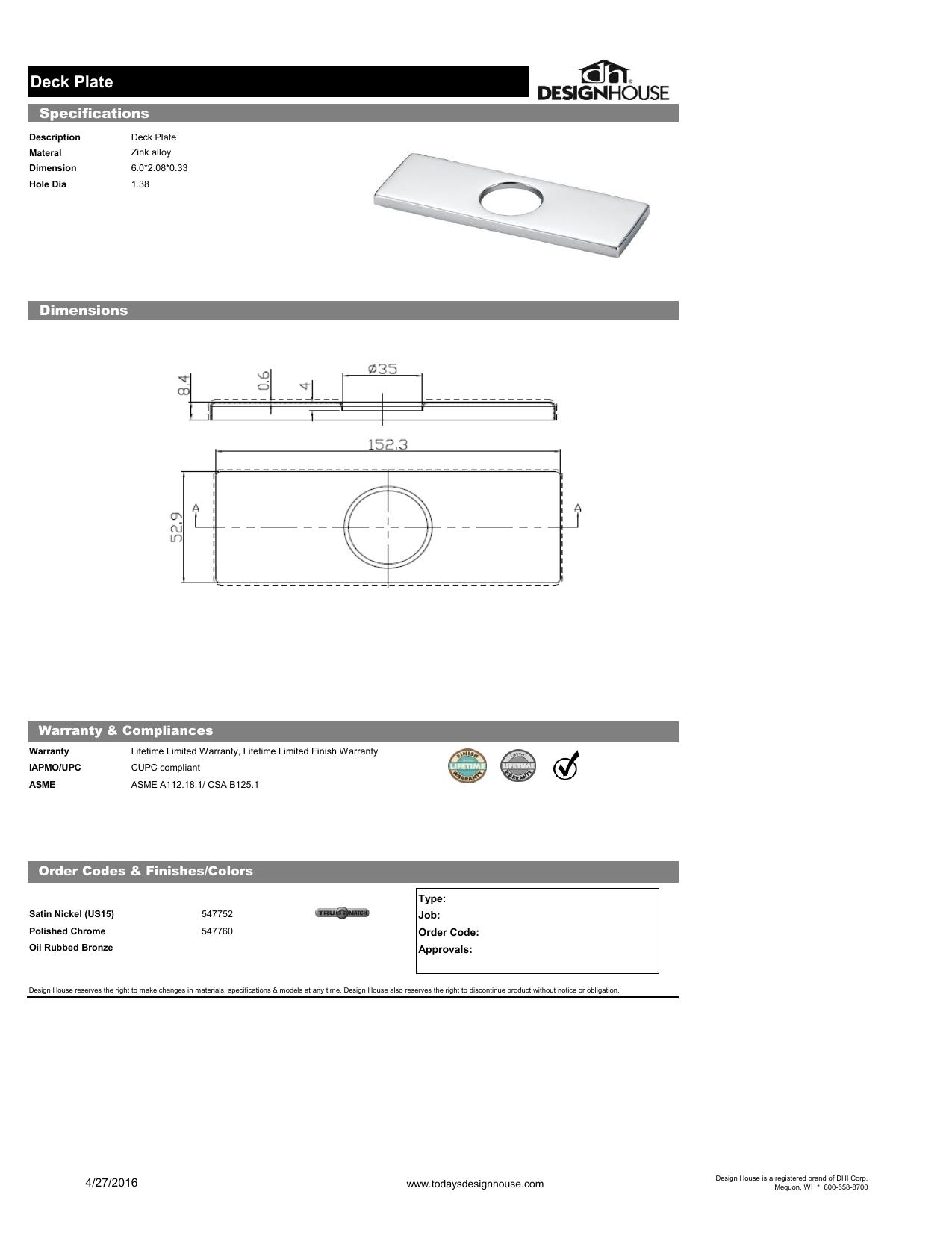 Design House 547760 Deck Plate 6