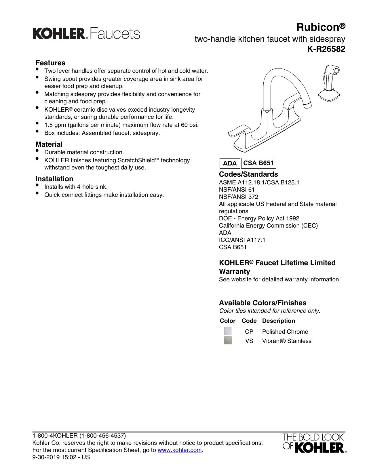 Kohler K R26582 Vs Specification Manualzz