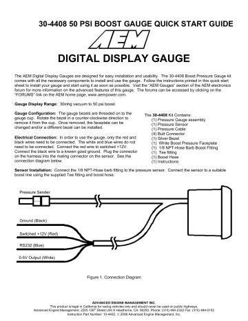 Aem 30 4408 Digital Boost Gauge, Aem Boost Gauge Wiring