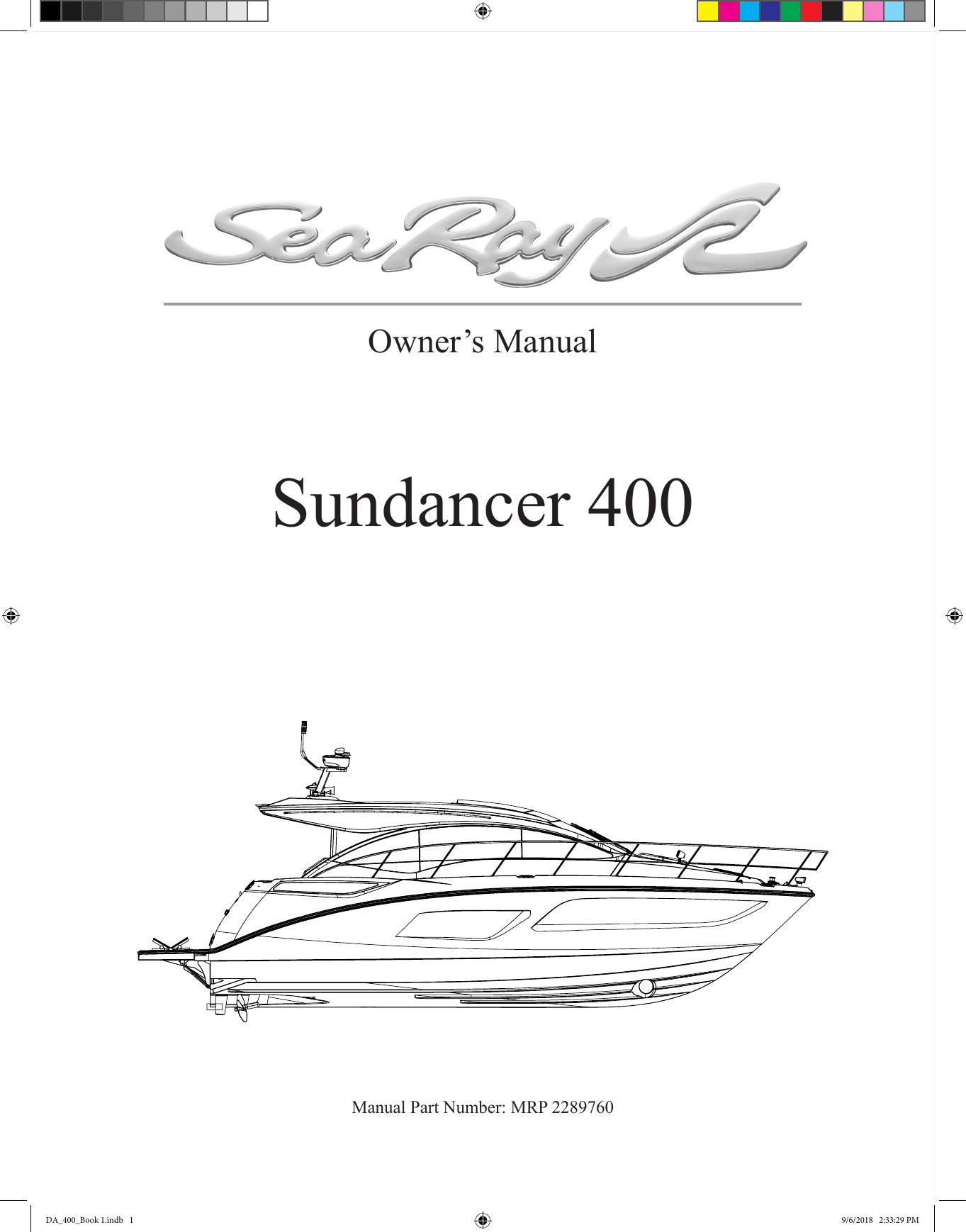 Sea Ray 2016 400 Sundancer Owner S Manual Manualzz