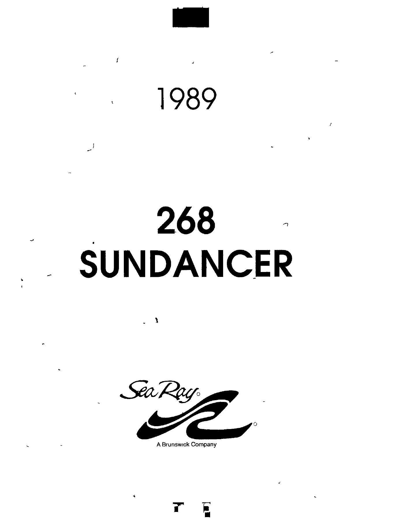 Sea Ray 1989 268 Sundancer User Manual Manualzz
