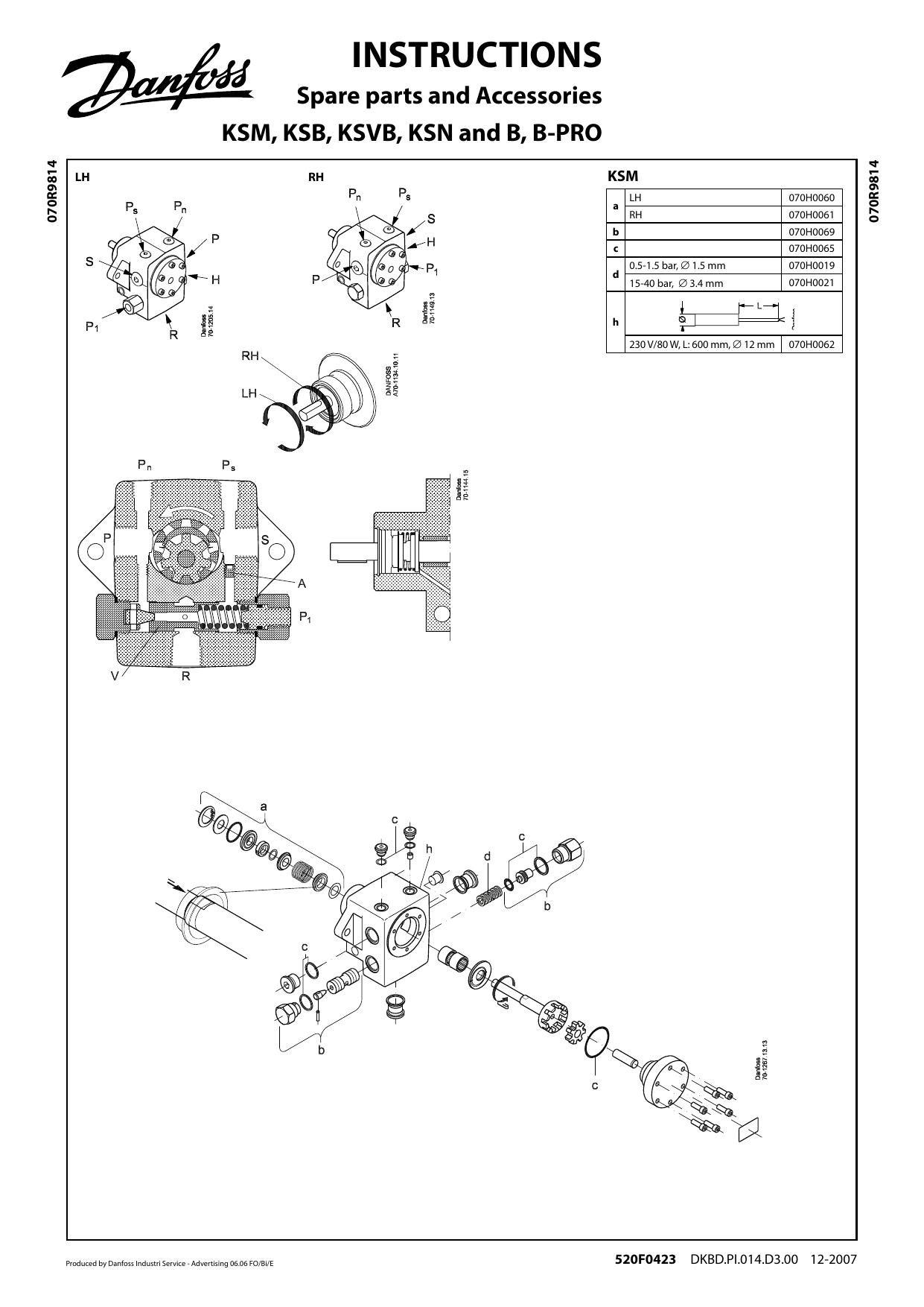 Danfoss Oil Pump Ksm Spare Parts And Accessories 安装指南 Manualzz