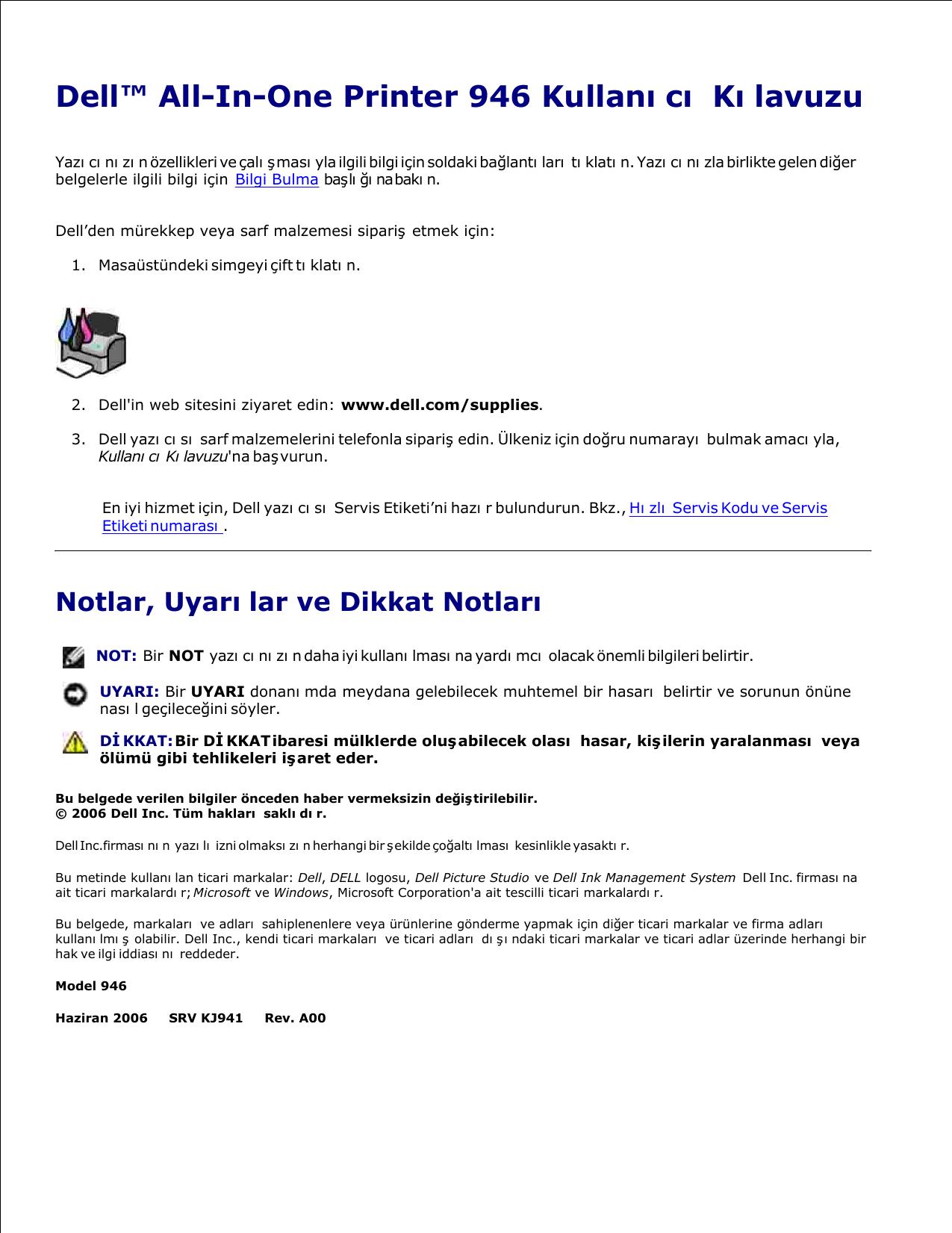 Dell 946 All In One Printer User's Guide