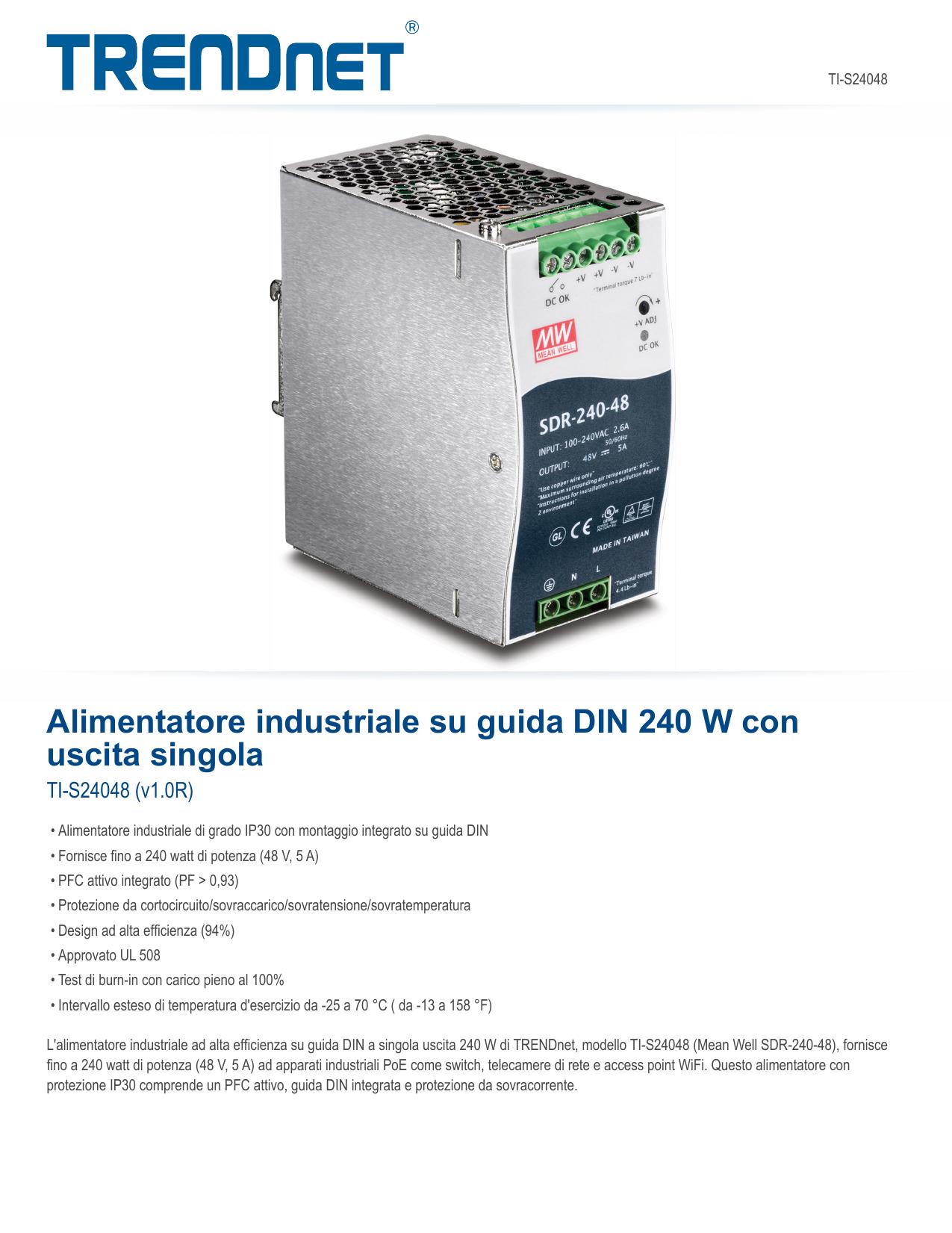Trendnet TI-S24048 240 W Single Output Industrial DIN-Rail ...