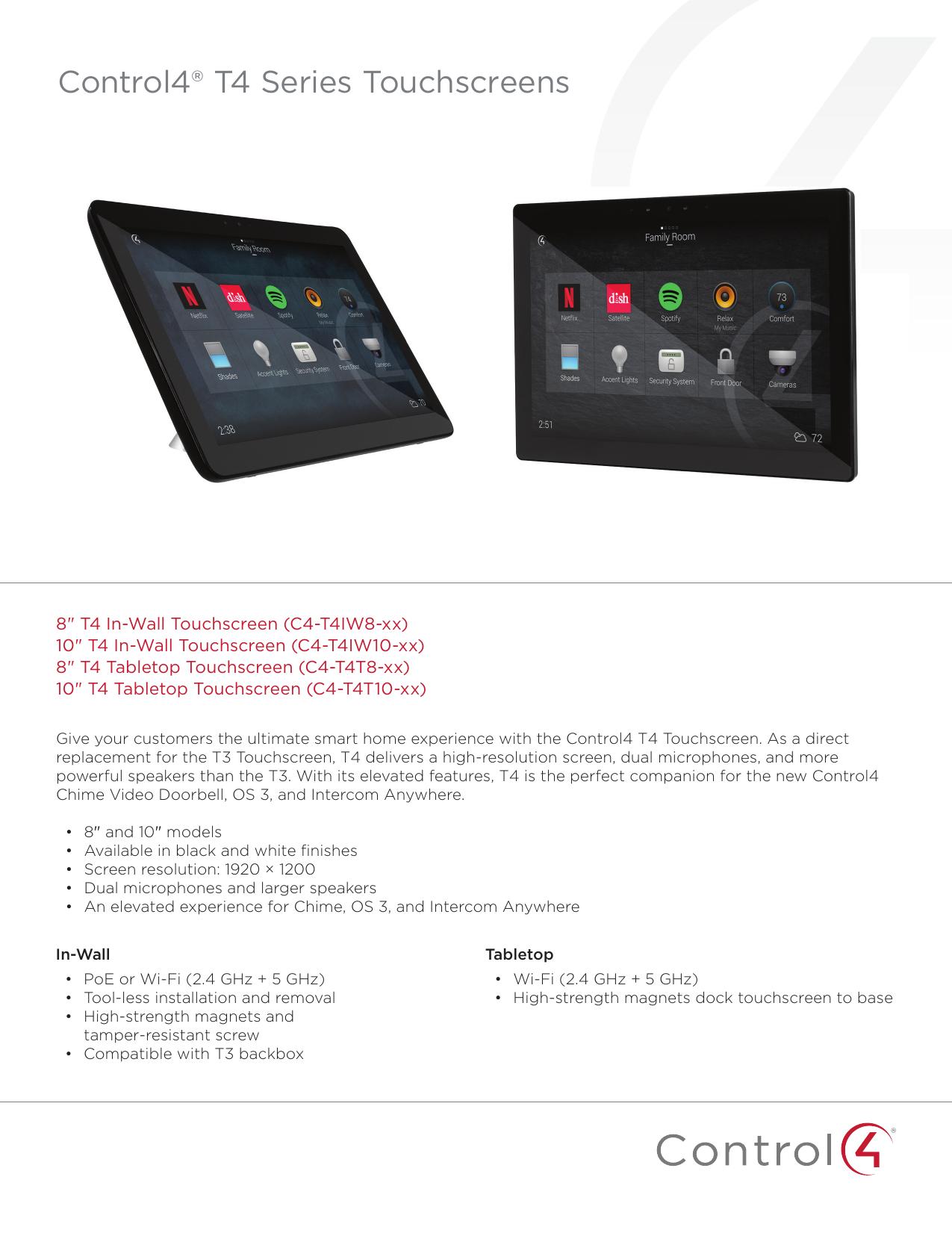 Control4 T4 Series Touchscreen Datasheet | Manualzz