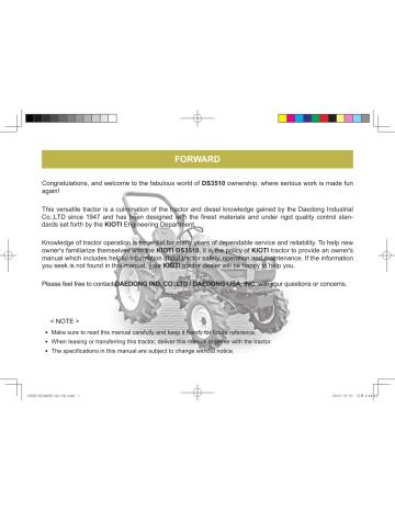 Kioti Ds3510 Owner S Manual Manualzz