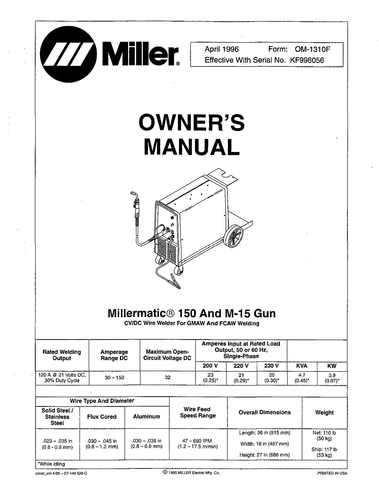 Miller Electric Millermatic Pulser M 40 Gun, Millermatic 400 ...