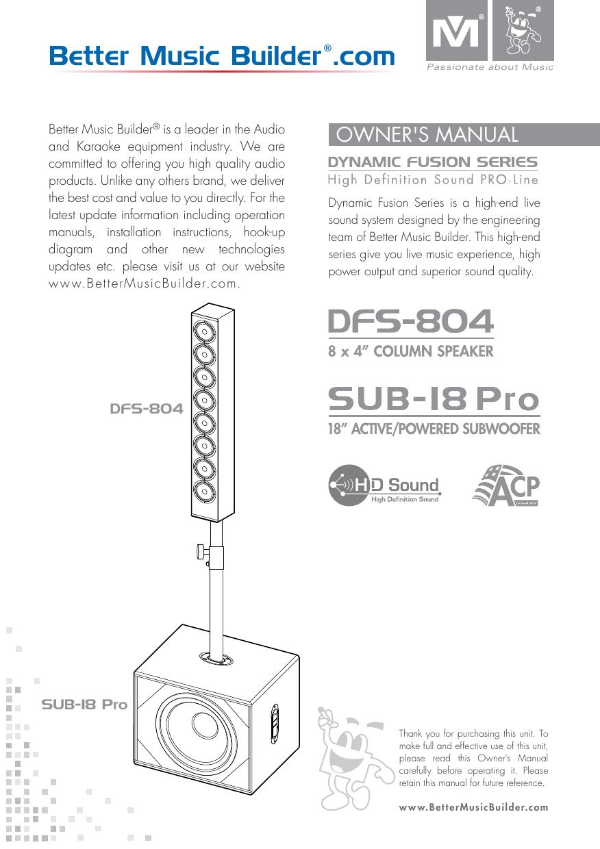 Better Music Builder SUB 8 Pro SPEAKERS Owner Manual   Manualzz
